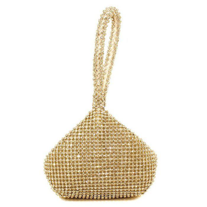 Geometric Shaped Rhinestone Evening BagSHOES &amp; BAGS<br><br>Color: GOLDEN; Handbag Type: Evening Bag; Style: Fashion; Gender: For Women; Pattern Type: Solid; Handbag Size: Mini(&lt;20cm); Closure Type: Zipper; Occasion: Versatile; Main Material: Satin; Weight: 0.4500kg; Size(CM)(L*W*H): 15.5*3.5*12.5; Package Contents: 1 x Evening Bag;