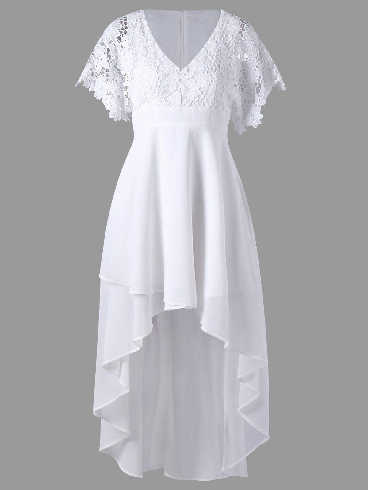 Lace Panel High Low Long Flowy DressWOMEN<br><br>Size: M; Color: WHITE; Style: Brief; Material: Polyester; Silhouette: A-Line; Dresses Length: Mid-Calf; Neckline: V-Neck; Sleeve Length: Short Sleeves; Embellishment: Lace; Pattern Type: Floral; With Belt: No; Season: Summer; Weight: 0.4200kg; Package Contents: 1 x Dress;