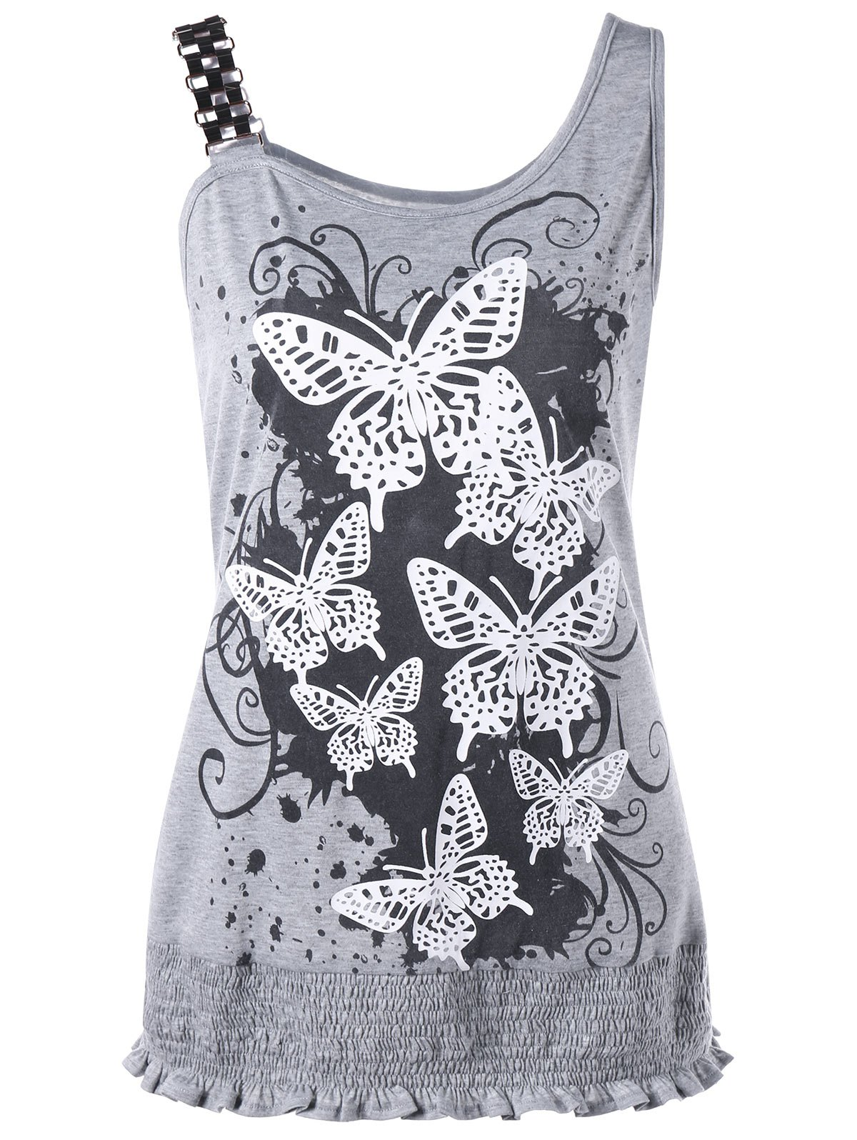 Butterfly Print Smocked Plus Size Tank TopWOMEN<br><br>Size: 5XL; Color: GRAY; Material: Polyester,Spandex; Shirt Length: Long; Sleeve Length: Sleeveless; Collar: Scoop Neck; Style: Casual; Season: Summer; Pattern Type: Insect; Weight: 0.2600kg; Package Contents: 1 x Tank Top;