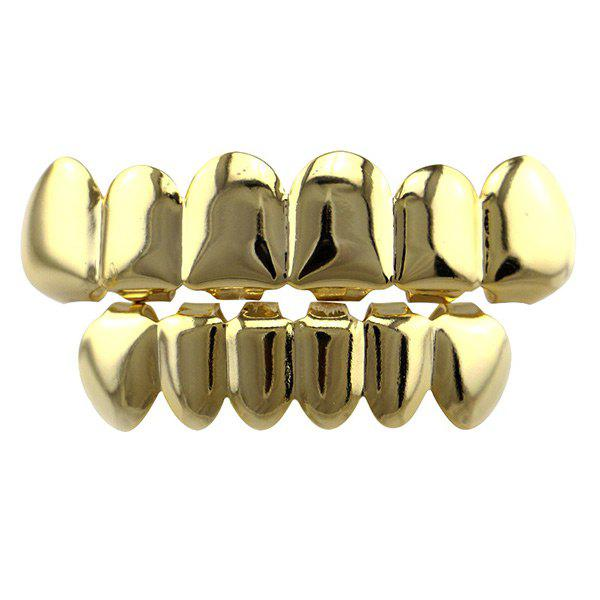 Hip Hop Smooth Top Bottom Teeth Grillz SetJEWELRY<br><br>Color: GOLDEN; Body Jewelry Type: Grillz/Dental Grills; Style: Trendy; Shape/Pattern: Geometric; Length: 5CM(Top) /4CM (Bottom); Package Content: 2 x Caps 2 x Silicone Bars; Weight: 0.0400kg;