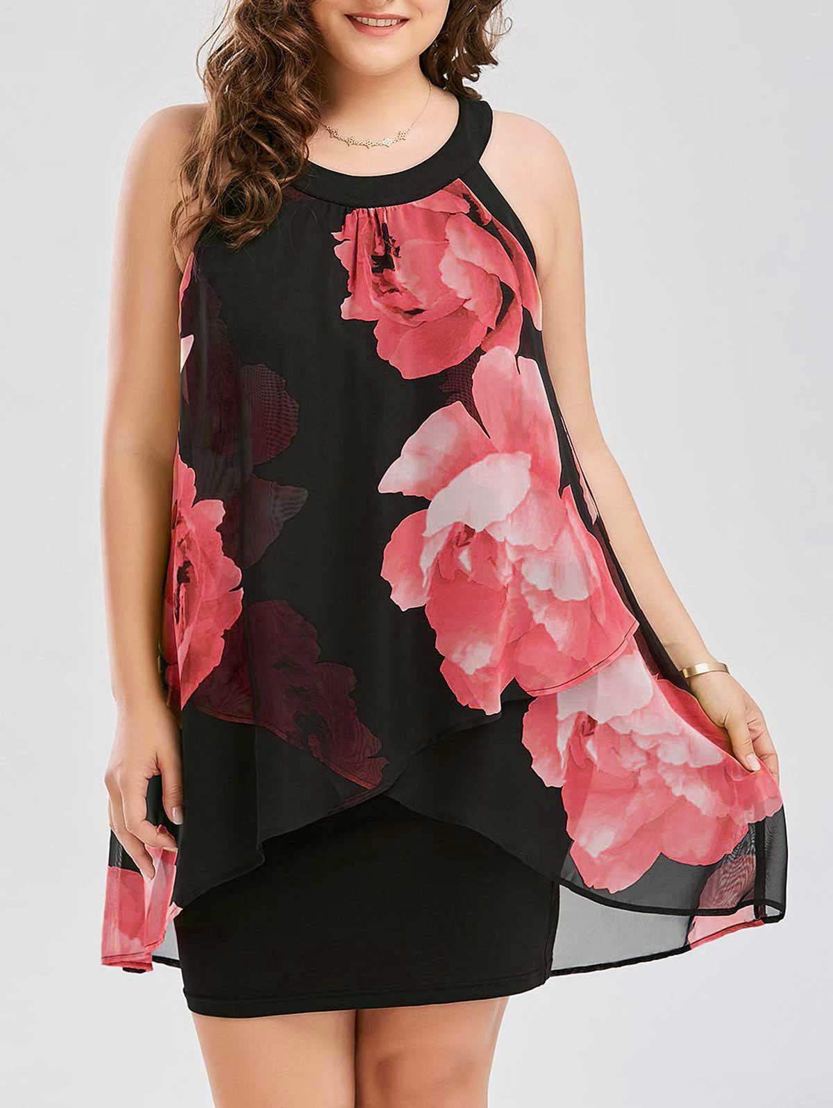 Plus Size Floral Overlay Sheath DressWOMEN<br><br>Size: XL; Color: RED; Style: Club; Material: Cotton,Polyester,Spandex; Silhouette: Sheath; Dresses Length: Mini; Neckline: Round Collar; Sleeve Length: Sleeveless; Pattern Type: Floral; With Belt: No; Season: Summer; Weight: 0.3500kg; Package Contents: 1 x Dress;
