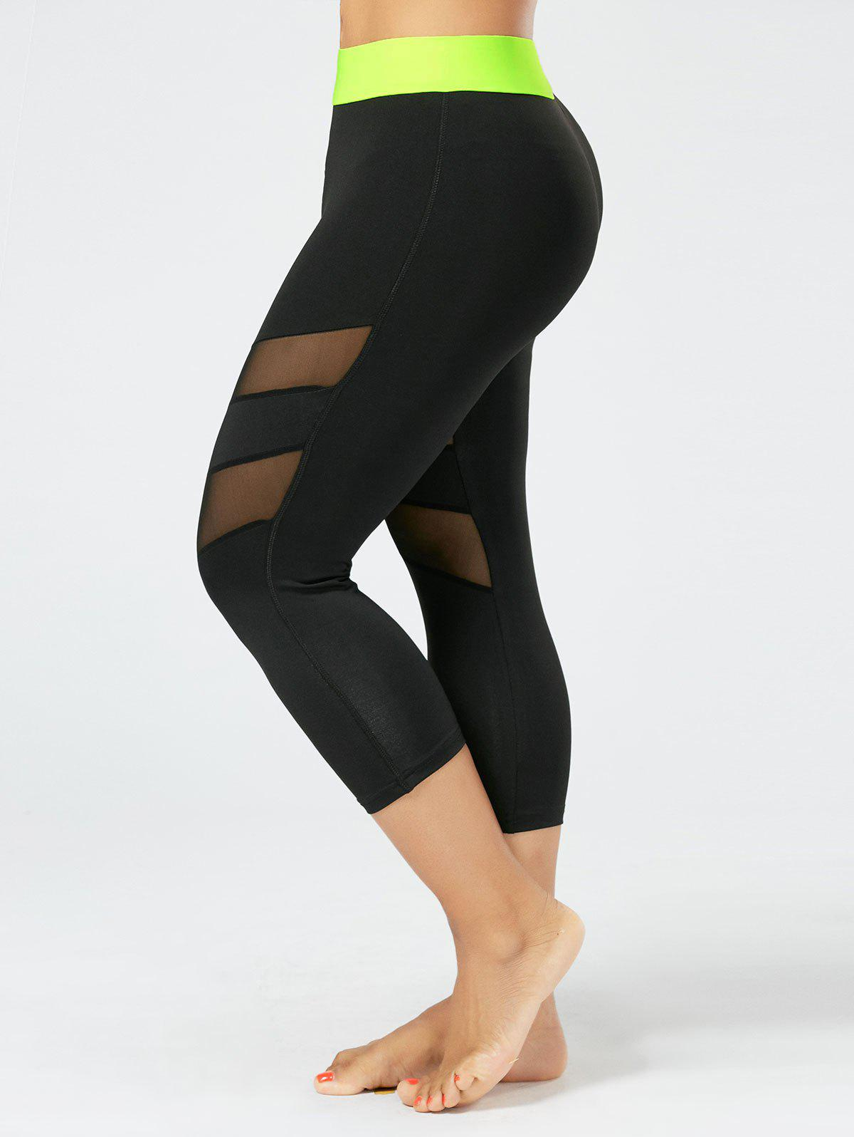Mesh Panel Plus Size Capri Fitness LeggingsWOMEN<br><br>Size: 3XL; Color: BLACK; Style: Active; Length: Capri; Material: Cotton Blends,Polyester,Spandex; Fit Type: Skinny; Waist Type: High; Closure Type: Elastic Waist; Pattern Type: Solid; Pant Style: Pencil Pants; Elasticity: Elastic; Weight: 0.2500kg; Package Contents: 1 x Leggings;
