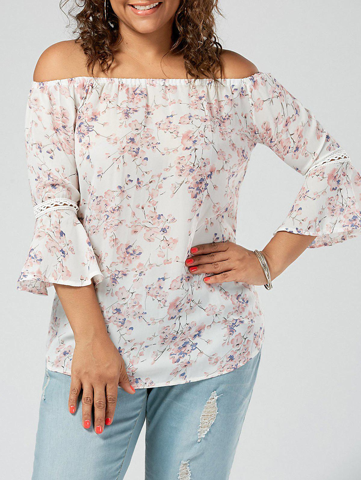 Chiffon Floral Off The Shoulde Plus Size BlouseWOMEN<br><br>Size: 2XL; Color: PINK; Material: Cotton Blends,Polyester; Fabric Type: Chiffon; Shirt Length: Regular; Sleeve Length: Three Quarter; Collar: Off The Shoulder; Style: Fashion; Season: Spring,Summer; Sleeve Type: Flare Sleeve; Embellishment: Lace; Pattern Type: Floral; Weight: 0.1800kg; Package Contents: 1 x Top;