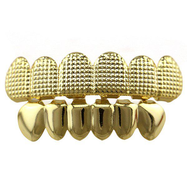 Hip Hop Cool Top Bottom Teeth Grillz SetJEWELRY<br><br>Color: GOLDEN; Body Jewelry Type: Grillz/Dental Grills; Style: Trendy; Shape/Pattern: Geometric; Length: 5CM(Top) /4CM (Bottom); Package Content: 2 x Caps 2 x Silicone Bars; Weight: 0.0300kg;