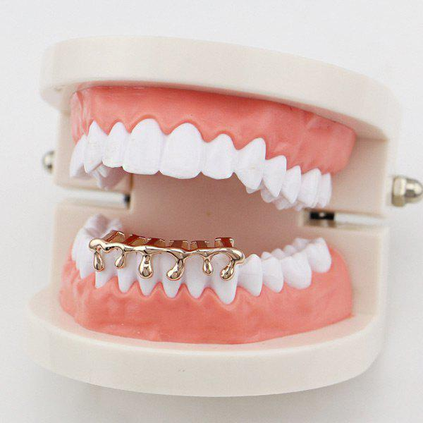 Lava Hip Hop Bottom Teeth GrillzJEWELRY<br><br>Color: ROSE GOLD; Body Jewelry Type: Grillz/Dental Grills; Style: Trendy; Shape/Pattern: Water Drop; Length: 3.5CM; Package Content: 1 x Cap 1 x Silicone Bar; Weight: 0.0300kg;