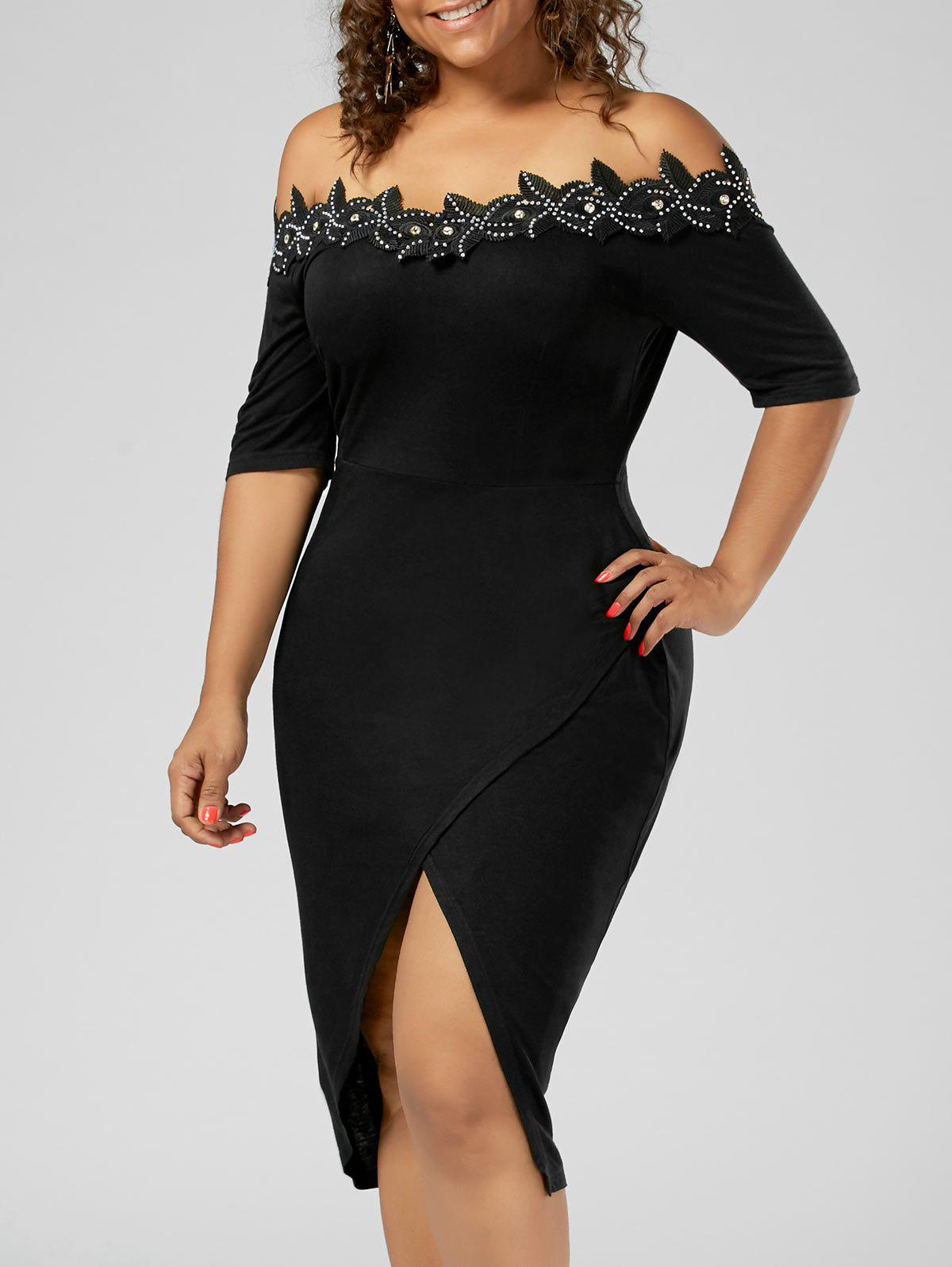 Plus Size Off the Shoulder Applique Pencil DressWOMEN<br><br>Size: 2XL; Color: BLACK; Style: Brief; Material: Cotton,Spandex; Silhouette: Sheath; Dresses Length: Knee-Length; Neckline: Off The Shoulder; Sleeve Length: Short Sleeves; Pattern Type: Solid; With Belt: No; Season: Summer; Weight: 0.3500kg; Package Contents: 1 x Dress;