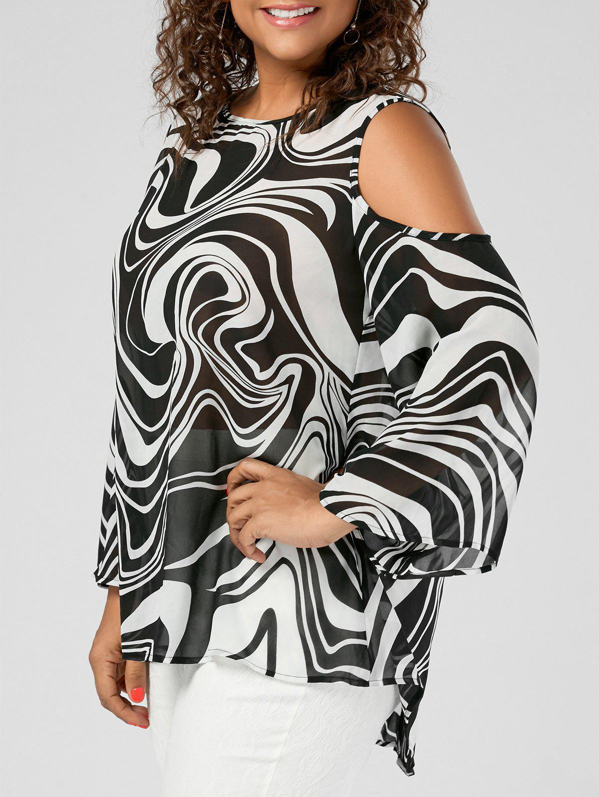Plus Size Graphic Cold Shoulder High Low TopWOMEN<br><br>Size: 5XL; Color: WHITE AND BLACK; Material: Polyester; Shirt Length: Long; Sleeve Length: Full; Collar: Round Neck; Style: Fashion; Season: Fall,Spring,Summer; Pattern Type: Print; Weight: 0.3500kg; Package Contents: 1 x Blouse;