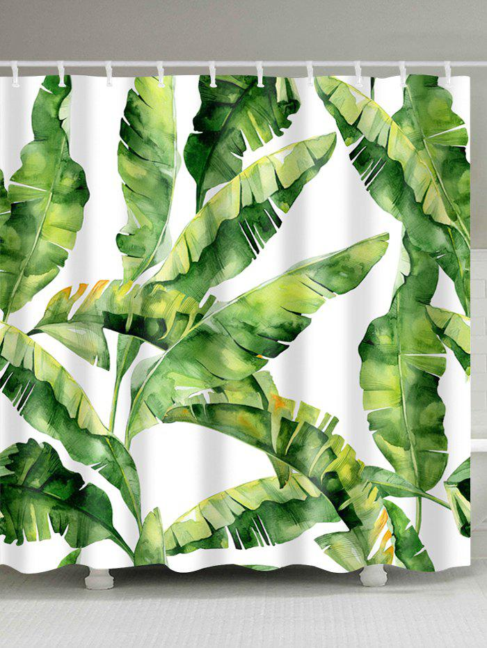 Banana Leaf Polyester Fabric Shower CurtainHOME<br><br>Size: W59 INCH * L71 INCH; Color: GREEN; Products Type: Shower Curtains; Materials: Polyester; Pattern: Plant; Style: Trendy; Number of Hook Holes: W59 inch*L71 inch: 10; W71 inch*L71 inch: 12; W71 inch*L79 inch: 12; Package Contents: 1 x Shower Curtain 1 x Hooks (Set);