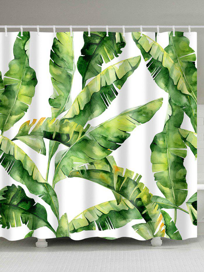 Banana Leaf Polyester Fabric Shower CurtainHOME<br><br>Size: W71 INCH * L71 INCH; Color: GREEN; Products Type: Shower Curtains; Materials: Polyester; Pattern: Plant; Style: Trendy; Number of Hook Holes: W59 inch*L71 inch: 10; W71 inch*L71 inch: 12; W71 inch*L79 inch: 12; Package Contents: 1 x Shower Curtain 1 x Hooks (Set);
