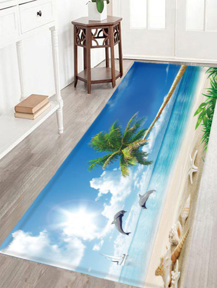 Seaside Scenery Antislip Crystal Velvet Fabric RugHOME<br><br>Size: W16 INCH * L47 INCH; Color: BLUE; Products Type: Bath rugs; Materials: Polyester; Pattern: Scenic; Style: Beach Style; Shape: Rectangle; Package Contents: 1 x Rug;