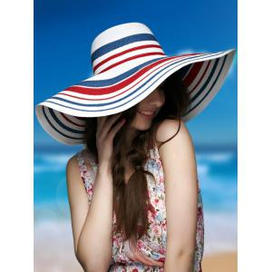 Striped Wide Brim Straw Hat