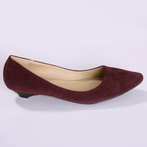 Shallow Mouth Low Heel Pumps - WINE RED 39