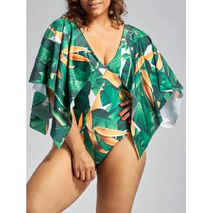 Batwing Sleeve Palm Leaf Cape Swimwear