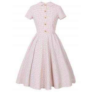 Checked Collared Short Sleeve Pin Up Dress