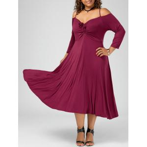 Plus Size Spaghetti Strap Cold Shoulder Party Dress - Wine Red - 5xl
