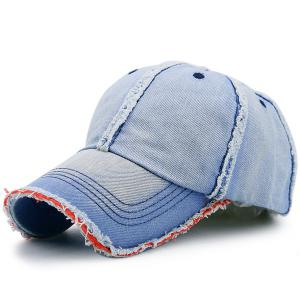 Artificial Sanding Brim Gradient Denim Baseball Cap
