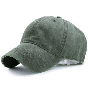 Nostalgic Baseball Lines Embroidery Cap - Army Green