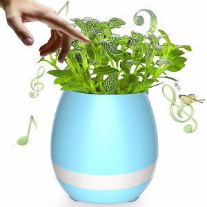 USB Charging Colorful Night Light Bluetooth Speaker Music Flower Pot - Blue