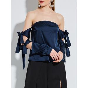 Lace Up Sleeve Strapless Satin Blouse