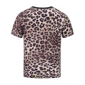 Short Sleeve Music Graphic Leopard Print T-shirt - COLORMIX 3XL