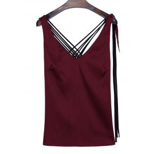 Criss Cross Back Satin Tank Top - WINE RED M