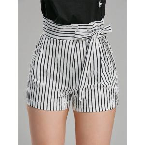 Belted High Waisted Mini Striped Shorts