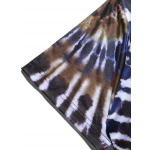 Short Sleeve Color Block Spiral Tie Dye Print T-shirt - COLORMIX 2XL