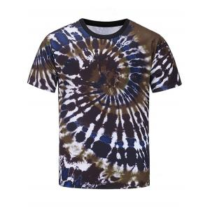 Short Sleeve Color Block Spiral Tie Dye Print T-shirt
