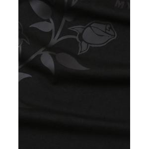 3D Bird Applique Rose Print Stretchy T-shirt - BLACK 2XL