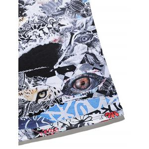 3D Animals Eyes Abstract Print Panel T-shirt - COLORMIX 3XL