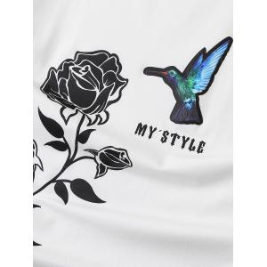 3D Bird Applique Rose Print Stretchy T-shirt - WHITE XL