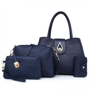 4 Pcs Line Embossed Handbag Set