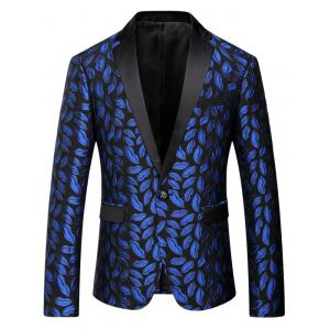 Flap Pocket Lips Pattern Lapel Blazer - Blue - L