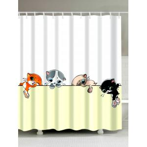 Extra Long Cartoon Cat Fabric Shower Curtain - Colormix - W71 Inch * L79 Inch