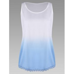 Plus Size Ombre Print Tank Top with Lace Trim - Blue - 2xl