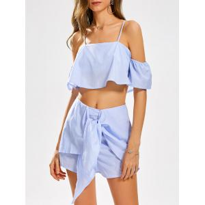 Cold Shoulder Stripe Crop Top and Knotted Shorts