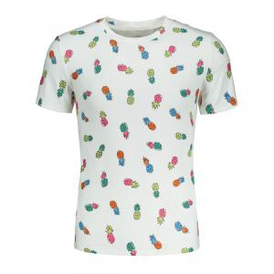 Short Sleeve Cartoon Pineapple Print T-shirt -