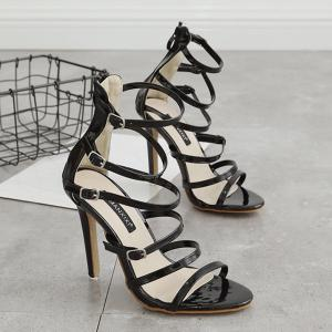 Stiletto Heel Buckle Straps Zipper Sandals - Noir 37