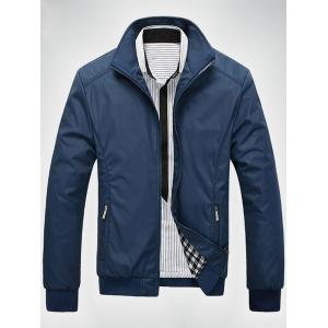 Zip Up Casual Bomber Jacket - Blue - M