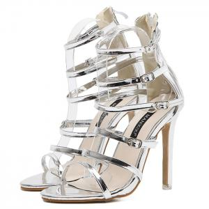 Stiletto Heel Buckle Straps Zipper Sandals -