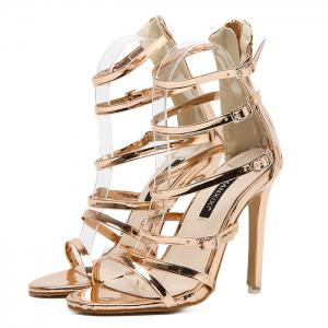 Stiletto Heel Buckle Straps Zipper Sandals - Champagne 38