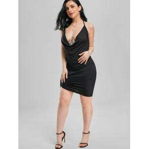 Halter Backless Club Mini-robe - Noir M