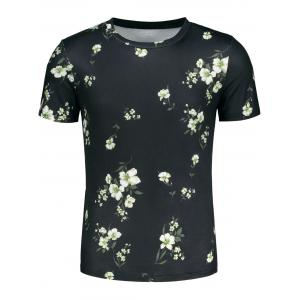 Short Sleeve 3D Flowers and Leaves Print T-shirt -