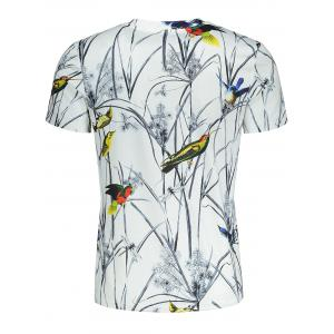 Short Sleeve Colorful Birds and Leaves Print T-shirt -
