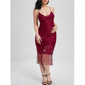 Lace Up Fringe Backless Bodycon Dress
