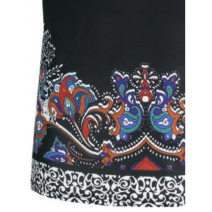 Short Sleeve Ethnic Floral and Paisley Print T-shirt -