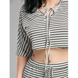 Striped Shorts+ Lacing V Neck Crop Top -