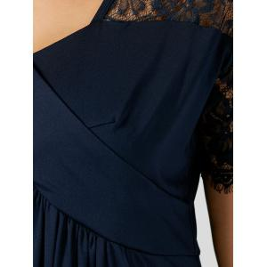 Plus Size Lace Insert Maxi Formal Dress with Sleeves - PURPLISH BLUE 5XL