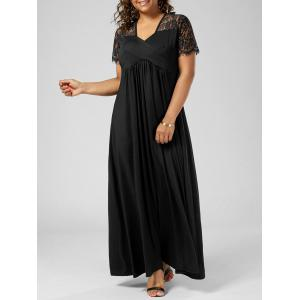Plus Size Lace Insert Maxi Formal Dress with Sleeves - Black - 5xl