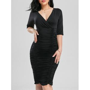 Scrunch Ruched Bodycon Cocktail Plunge Dress - Black - S